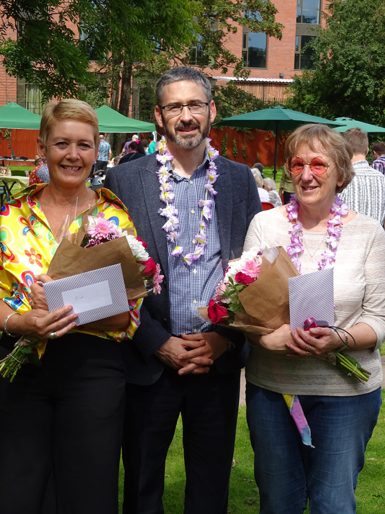 Eve and Sue presented flowers from Autism West Midlands CEO