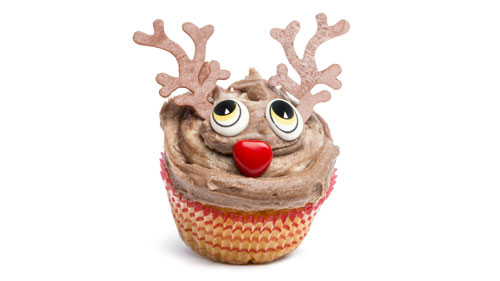 A festive decorated cup cake