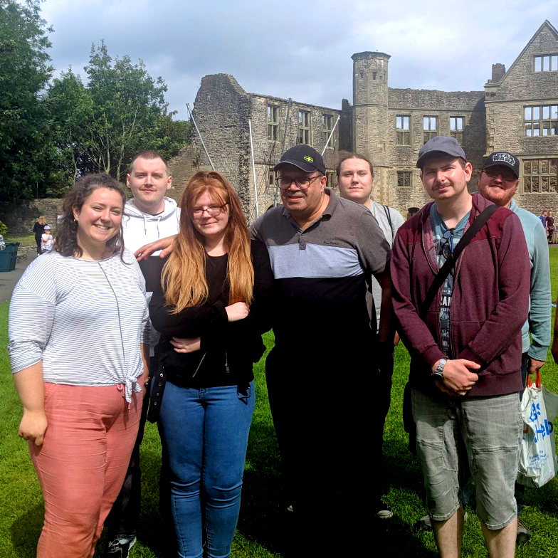 Group of people posing in front of Dudley Castle