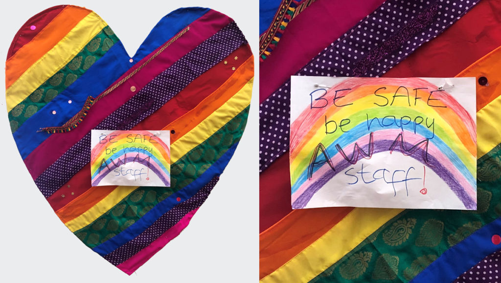 Hand made rainbow cloth heart