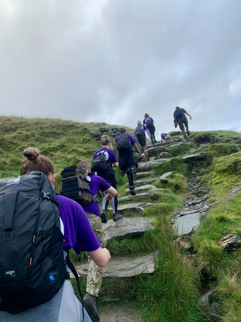 Fundraisers at the summit of Mount Snowdon