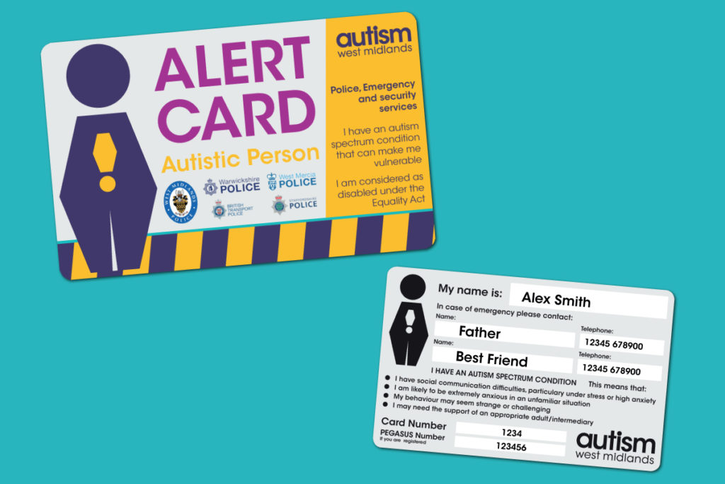 Image of the front and back side of the Alert Card