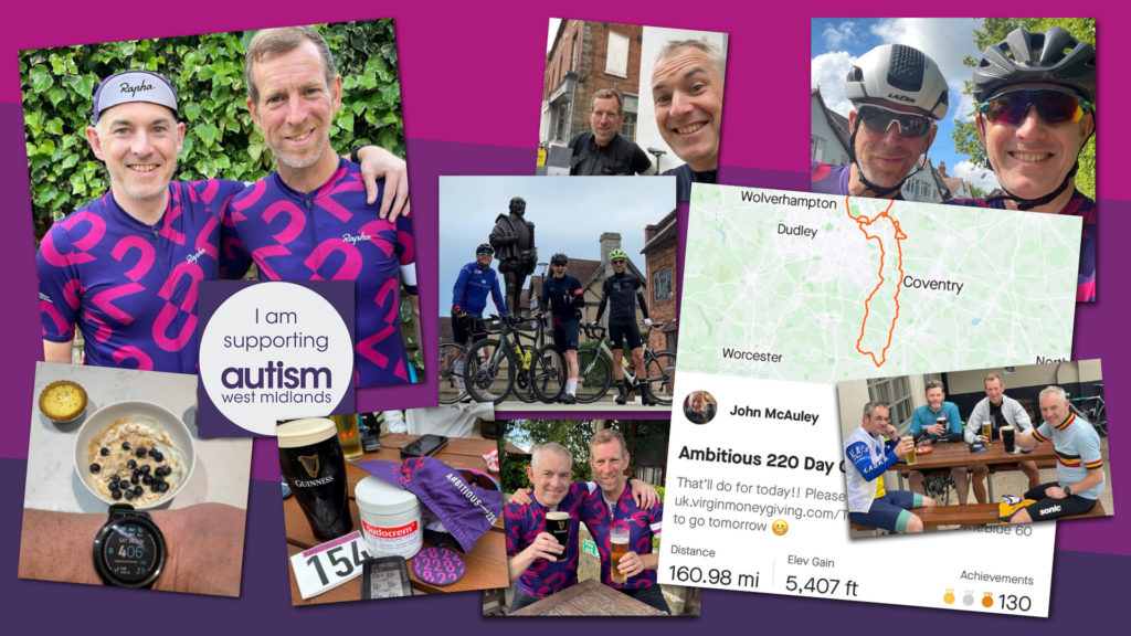 Montage of photos of our cycling fundraisers John and Lloyd